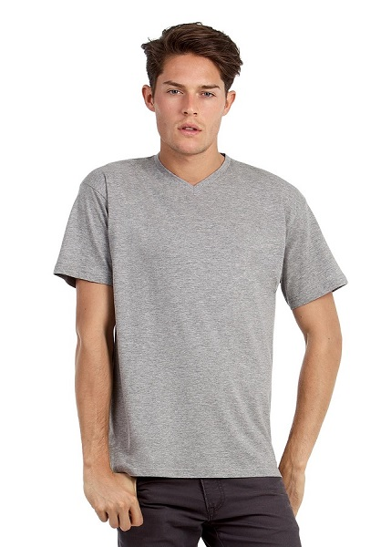 CAMISETA B&C V-NECK 145GR PICO MC BLANCO