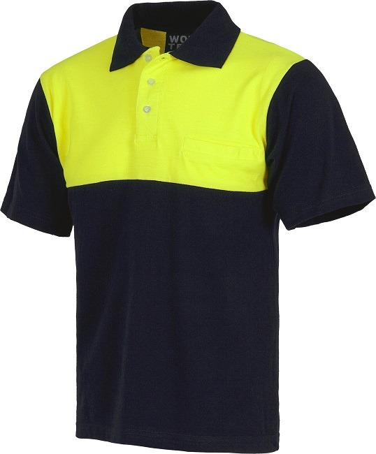 POLO COTTON BICOLOR NAVY/FLUOR M.CORTA