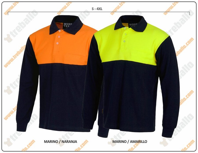 POLO COTTON BICOLOR NAVY/FLUOR M.LARGA